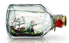 Image Art, canarinu kmes, boy, bottle, ship, fish, water, print, anime