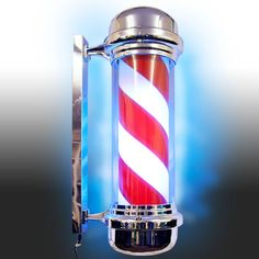 39 Round Top LED Barber Pole Lamp Rotating /& Illuminated Red Blue White Stripes Light Attractive Salon Hair Barber Shop Sign