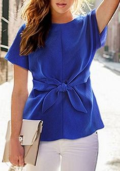 Blue Plain Tie Front Short Sleeve Round Neck Loose Casual Chiffon Blouse