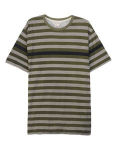 rag & bone Official Store, Wide Perfect Stripe Tee - Olive, olive fl, Mens : Sale : Tees, M232T33JC