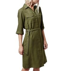 Topshop Utility Twill Shirtdress ($85) ❤ liked on Polyvore featuring dresses, olive, military shirt dress, olive dress, olive green dress, military fashion and topshop