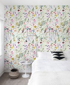 Removable colorful watercolor flowers Wallpaper, floral wall mural, Peel and Stick Fabric Wallpaper, Custom Design Wall Mural # 9 – Koffer tapezieren Fabric Wallpaper, Flower Wallpaper, Green Wallpaper, Wallpaper Ideas, Wall Wallpaper, Spring Wallpaper, Temporary Wallpaper, Mural Floral, Tapete Floral