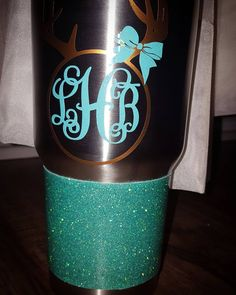 My first glitter dipped stainless tumbler for someone other than myself! She picked the glitter colors to create a custom mixture! I surprised her with the monogram design. In love with it...so of course I had to use the same glitter mixture for a cup of my own! LOL #stainlesstumbler #notayeti #stillworkstho #mintyellowtheme #countrygirl #glitterdipped Custom Yeti, Tumbler Posts, Funny School Pictures, Yellow Theme, Yeti Cup, Monogram Design, Custom Tumblers, School Humor, Vinyl Designs