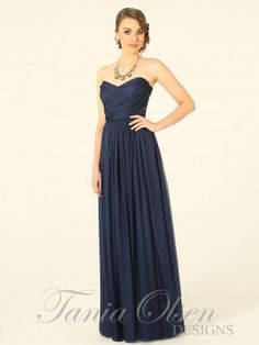 Navy silk chiffon strapless dress
