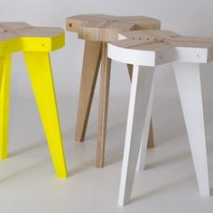 Offset Stools by Giorgio Biscaro- Its particular production method allows to reduce to the minimum the offcuts and costs.