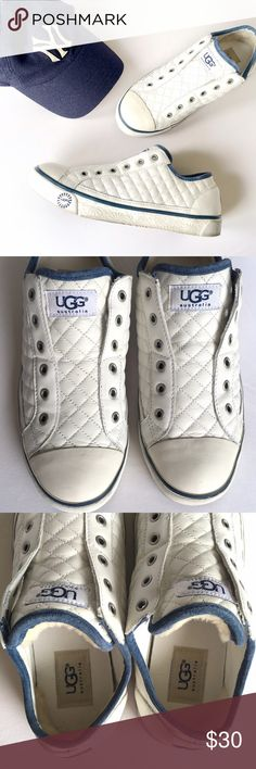 "Ugg Laela Sneaker Quilted Slip Ons White 7.5 Pre loved condition. No flaws just could use a good cleaning. White with blue piping, quilted Ugg slip on sneakers. Style ""Laela."" Super comfy! Size 7 1/2.  ❎No trades  ✅Offers considered through the offer button UGG Shoes Sneakers"