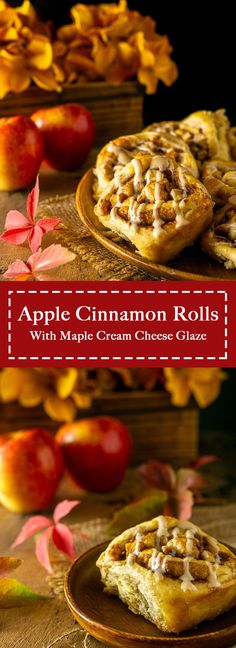 Looking for some fall breakfast ideas? Try these ultra gooey apple cinnamon rolls with maple cream cheese glaze! These fall cinnamon rolls are guaranteed crowd pleasers, and they're truly one easy homemade cinnamon roll recipe. #fallbreakfast #applecinnamonrolls #fallbrunch #thanksgivingbreakfast #fallcinnamonrolls