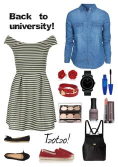 """Back to university 3!"" by tzotzo1 ❤ liked on Polyvore featuring WalG, New Look, AERIN, Soludos, Dolce&Gabbana, Valentino, Bling Jewelry, Movado, Maybelline and women's clothing"