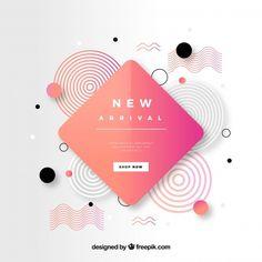 Abstract new arrival composition with flat design Free Vector Web Design, Design Plat, Design Logo, Shape Design, Flat Design, Pattern Design, Buch Design, Memphis Design, Social Media Design