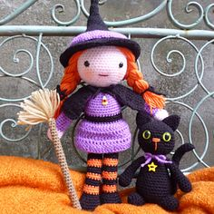 Ravelry: Morgana the Witch and Soots the Cat pattern by Moji-Moji Design Halloween Crochet, Halloween Crafts, Halloween Decorations, Crochet Crafts, Crochet Projects, Diy Crafts, Cat Crochet, Crochet Blanket Patterns, Cross Stitch Patterns