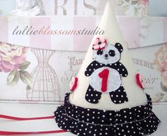 Panda Birthday Hat Felt Party Hat Panda Party by LollieBlossom, $25.00