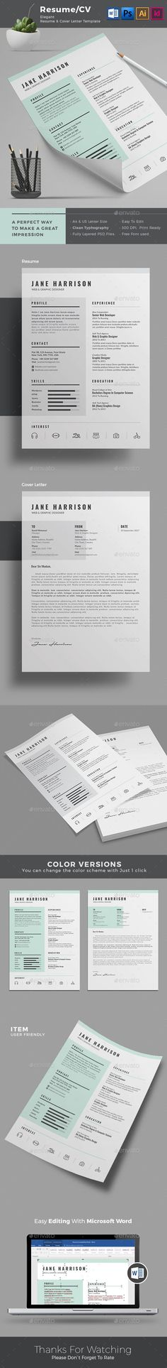 Minimal Resume Template Design | A4 & US Letter Size | Indesign + IDML + PSD + AI + MS Word | Multiple Color Versions to suite your taste | Download Now - https://graphicriver.net/item/resume/17964957?ref=themedevisers