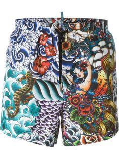 DSQUARED2 Fantasy Print Swim Shorts. #dsquared2 #cloth #shorts