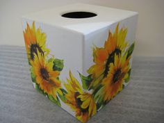Sunflower Tissue Box Cover by crackpotscrafts on Etsy, £15.00