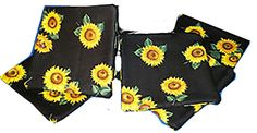 """Amazon.com: Custom & Cool {4.3"""" Inches} Set Pack Of 4 """"Grip Texture"""" Drink Cup Coasters Made of 100% Cotton w/ Beautiful Sunflower Gardening Flowers Pattern Design [Colorful Yellow, Green & Black]: Home & Kitchen"""