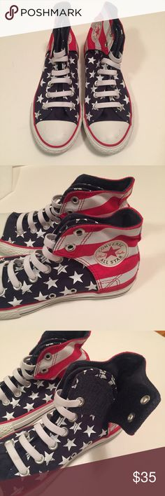 Velcro American Flag Converse high top sneakers Worn only a few times. This  is a 5d2a1dbc96da