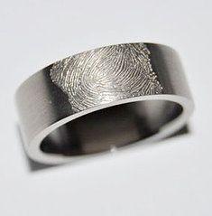 titanium fingerprint wedding band   titanium ring double matt strip titanium ring r950 fingerprint ring