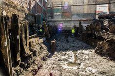 """Numa obra particular na Boavista foram encontrados """"relevantes vestígios"""" do passado industrial da zona, debaixo dos quais estavam preservadas várias estruturas portuárias, que constituem """"um importantíssimo testemunho da relação da cidade com o rio Tejo""""."""