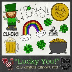 CU, commercial use St Pat Patrick's Patty's Irish March holidayLucky You! CU clipart