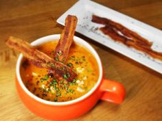 Sayat The Explorer - Roasted Red Pepper Soup with Peanut Butter and Bacon