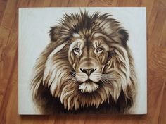 50х60 cm - LION - pyrography of Lesina Elena