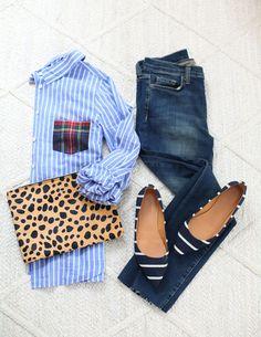 Love the plaid pocket on this cute oxford shirt! #plaid #stripes #jcrew