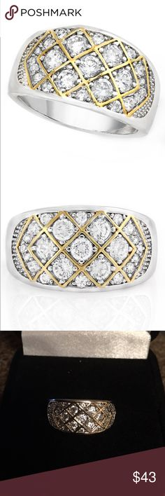 """2 TONE WHITE SAPPHIRE TING THIS NEW 2 TONE SAPPHIRE RING IS GORGEOUS!  ITS 2.15 TCW WHITE SAPPHIRE ROUND CUT STONES SET IN MATERIALS OF """"HIGH QUALITY 18K WHITE GOLD FILLED AND 14K YELLOW GOLD ACCENT TONE"""" WEIGHS APPROX 4.8 GRAMS SUZE 7 includes black velvet gift box GLAMOURESQ Jewelry Rings"""