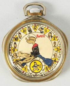 Rare Popeye Character Pocket Watch. Learn about your collectibles, antiques, valuables, and vintage items from licensed appraisers, auctioneers, and experts at BlueVault. Visit:  http://www.bluevaultsecure.com/roadshow-events.php