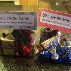 Thank you goody bag gifts with chocolate! We made them for VBS volunteers.