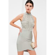 0e7db0619865 Missguided - Grey Bandage and Lace Bodycon Dress