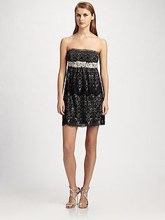 ABS Strapless Embroidered Dress