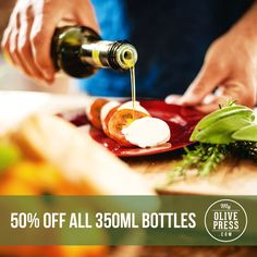 50% off all 350mL bottles.  Customize your label at www.myolivepress.com Check the site for professionally designed templates to get you started!!  #holidaygift #hostessgift #foodie #evoo #shopsmall #supportsmall #custom #personalized #customlabel #oliveoil #giftidea