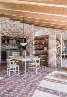 Round stone house kitchen in Denmark