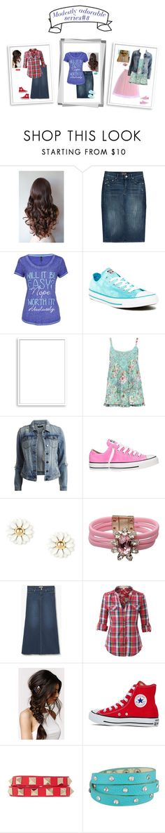 """Modestly adorable series#8"" by dominiquemcain ❤ liked on Polyvore featuring Mother, maurices, Converse, Bomedo, M&Co, VILA, Shourouk, MANGO, With Love From CA and Valentino"