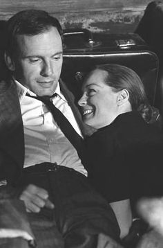 Jean-Louis Trintignant and Romy Schneider on the set of the movie 'Le train' in France on July 21, 1973.