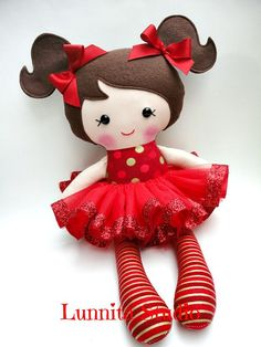 Holiday doll, Handmade cloth doll,Christmas gift,Ragdoll,Cloth doll,Fabric…