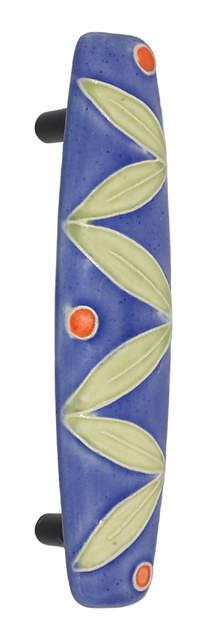 "Small Ceramic Pull Dark Blue w Leaves and 3 Berries 1-3/16"" x 4-7/8"" 3"" on center"