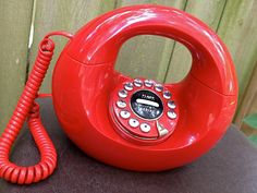 vintage donut phone  1970s bright red circle telephone by mkmack
