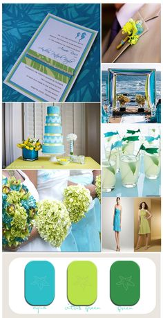 Tropical wedding inspiration board with aqua and greens