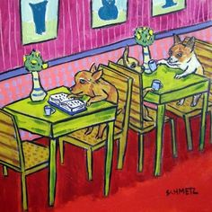 Chihuahuas at the Coffee Shop Dog Art Tile by lulunjay on Etsy, $12.49