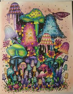 daydreams name plate page inspiration Lost Ocean, Mushroom Art, Hippie Art, Color Pencil Art, Coloring Book Pages, Psychedelic Art, Art Inspo, Fantasy Art, Cool Art