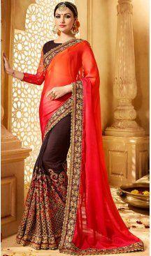 Orange Color Satin Embroidery Designer Saree | FH583986200 Follow us @heenastyle #saree #sari #sarees #sareelove #sareeindia #indiansaree #designersaree #sareeday #silksaree #lehengasaree #designersarees #sareesilk #weddingsaree #sareeblouse #sareefashion #ethnicwear #georgette #partywear #latestfashion #latestdesign #newfashionsaree #newdesigsaree #goldenbordersaree #instafashion #designersaris #heenastylesaree #heenastyle