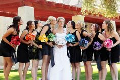 # Rainbow Bridesmaids bouquets ... Wedding ideas for brides, grooms, parents & planners ... https://itunes.apple.com/us/app/the-gold-wedding-planner/id498112599?ls=1=8 … plus how to organise an entire wedding ♥ The Gold Wedding Planner iPhone App ♥