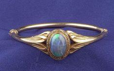 Art Nouveau Black Opal Bangle Bracelet, Sloan & Co.