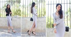 Un look en gris y negro con vestido midi, ¡la tendencia del momento!