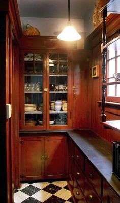 """A traditional Victorian butler's pantry was a place where food was prepared for serving, not a place where food was stored.  Storage rooms were usually called """"larders""""."""