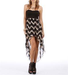Black/Taupe Zig Zag Hi Low Dress