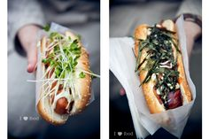 miso mayo hotdog w/radish sprouts and teri mayo hotdog w/fried onions and seaweed strips