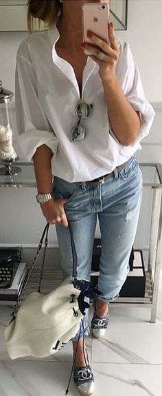 #fall #outfits / white blouse - THERE IS NOTHING QUITE LIKE, GOOD OLD BLUE JEANS, WORN WITH A WHITE SHIRT, SUNNIES TUCKED DOWN THE FRONT, A FABULOUS PAIR OF FLATS...READY TO GO!!