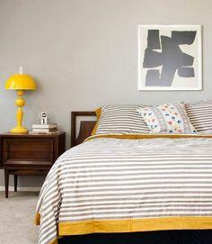 BEDROOM - grey walls + yellow pops + mid-century bedside table + graphic art